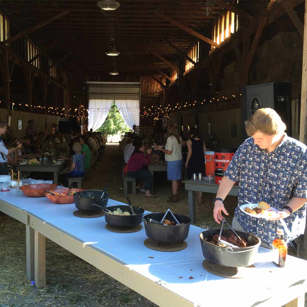 wedding catered in barn